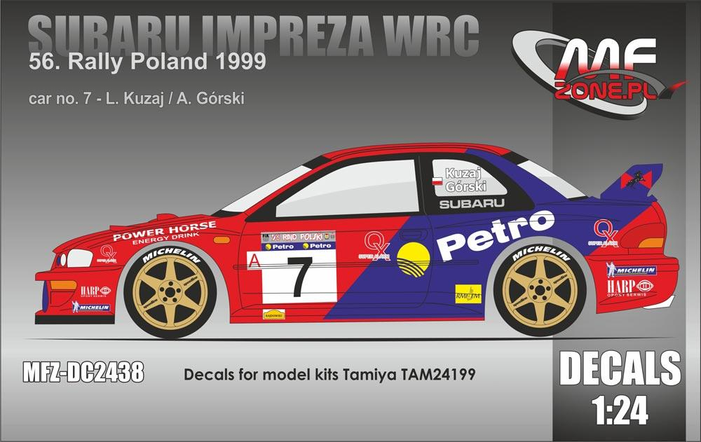 1 24 subaru impreza wrc kuzaj rally poland 1999 decals. Black Bedroom Furniture Sets. Home Design Ideas