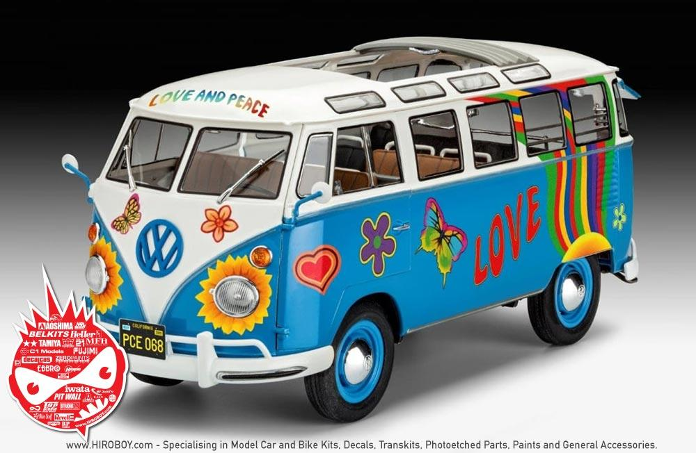 1 24 volkswagen samba bus t1 flower power rev 07050 revell. Black Bedroom Furniture Sets. Home Design Ideas