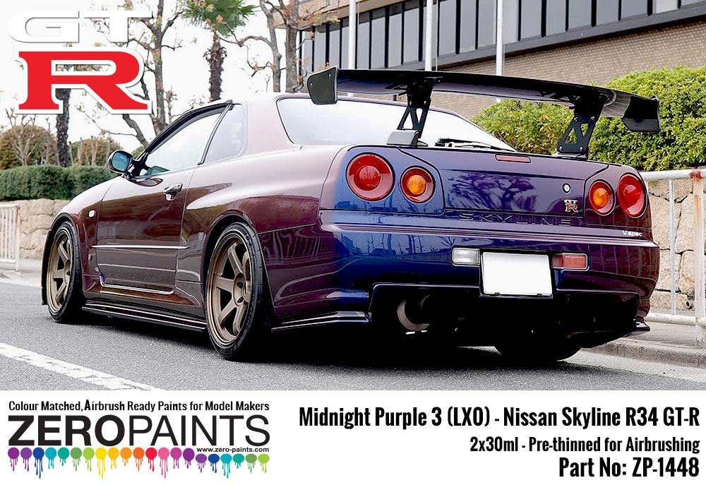 Nissan Skyline Gtr Price >> Midnight Purple 3 - LX0 Nissan GT-R R34 2x30ml (Limited Edition Colour) | ZP-1065 | Zero Paints
