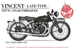 "1:9 HRD Vincent ""Black Shadow"" Motorcycle 1950 (Late Type)  - Full Detail Multi Media Kit"