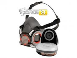 Force 8 Half Mask Twin Respirator with Typhoon Valve and Pair of A1P2 filters