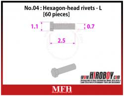 Metal Rivets Series No.04 : Hexagon-head rivets  L [60 pieces] P1011