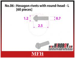 Metal Rivets Series No.06 : Hexagon rivets with round-head  L [60 pieces] P1013