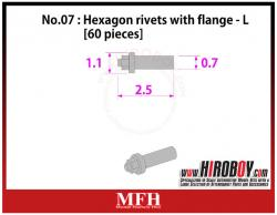 Metal Rivets Series No.07 : Hexagon rivets with flange  L [60 pieces] P1014