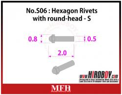 Metal Rivets Series No.S06 : Hexagon Rivets with round-head  S [75 pieces] P1022