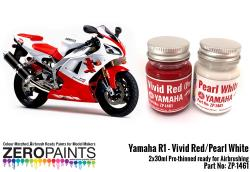Yamaha YZF R1 Vivid Red / Pearl White Paints 2x30ml