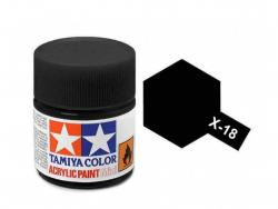 Tamiya Acrylic Mini X-18 Semi Gloss Black (Gloss) - 10ml Jar