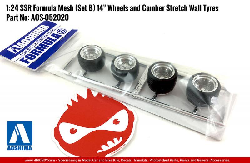 "1:24 SSR Formula Mesh (Set B) 14"" Wheels and Camber Stretch Wall Tyres"