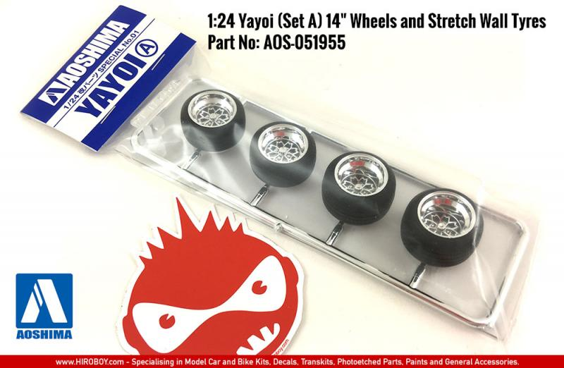 "1:24 Yayoi (Set A) 14"" Wheels and Stretch Wall Tyres"