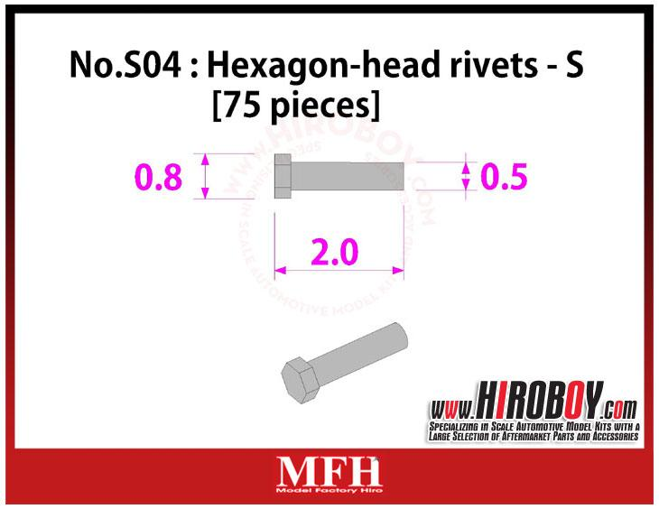 Metal Rivets Series No.S04 : Hexagon-head rivets  S [75 pieces] P1020