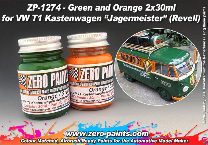 Green and Orange Paint Set 2x30ml For Revell 07076 - VW T1 Kastenwagen/Jagermeister