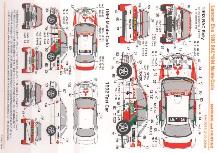 1 24 mitsubishi lancer evo 1993 monte carlo rac decals tamiya 1 24 mitsubishi lancer evo 1993 monte carlo rac decals tamiya