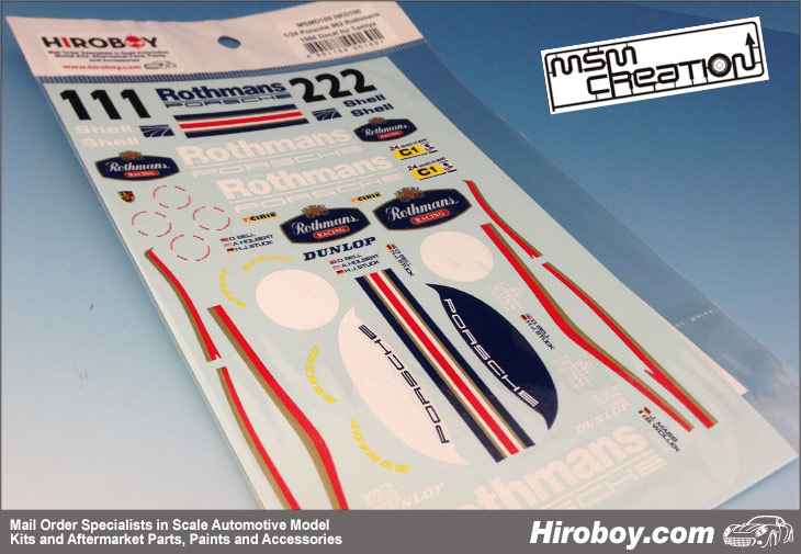 1 24 Porsche 962 Rothmans Full Decals 1986 Msmd169 Msm
