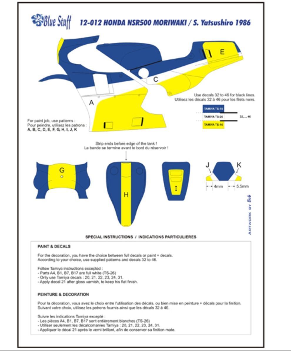112 Honda Nsr500 Moriwaki S Yatsushiro 1986 Decals Bs 12012 Cushman Hawk Wiring Diagram