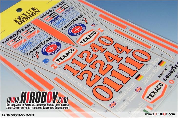 1:12 mclaren m23 1976 & 1977 sponsor decals for tamiya | tabu-12046