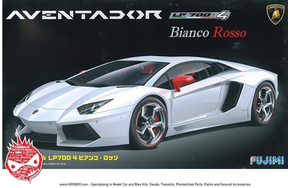 1 24 Lamborghini Aventador Lp700 4 Bianco Rosso Fuj 125640 Fujimi