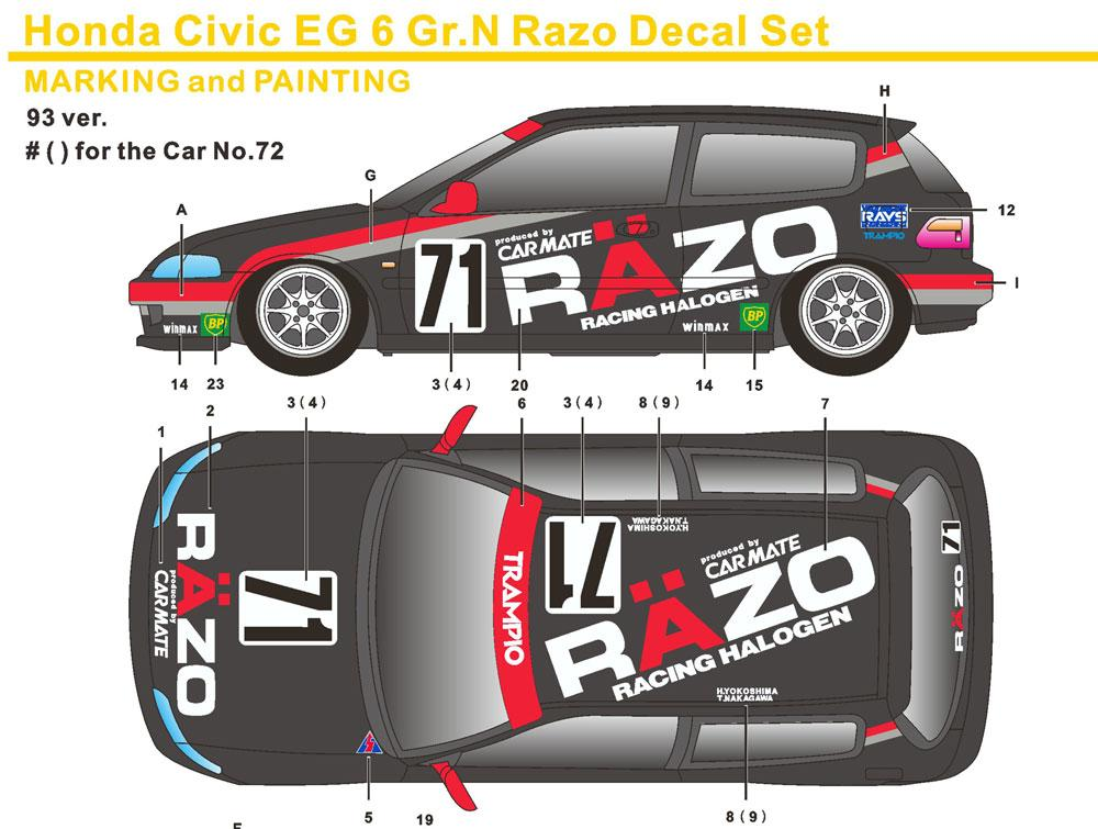 1:24 Honda Civic EG6 Gr N Razo Decals