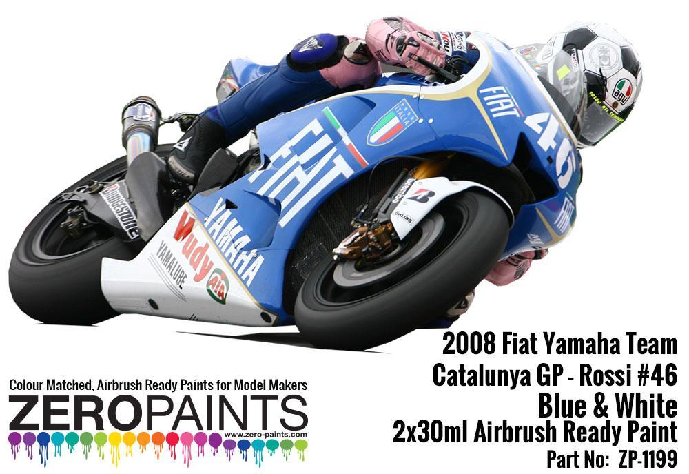 2008 Fiat Yamaha Team Catalunya GP - Rossi #46 Blue & White - 2x30ml