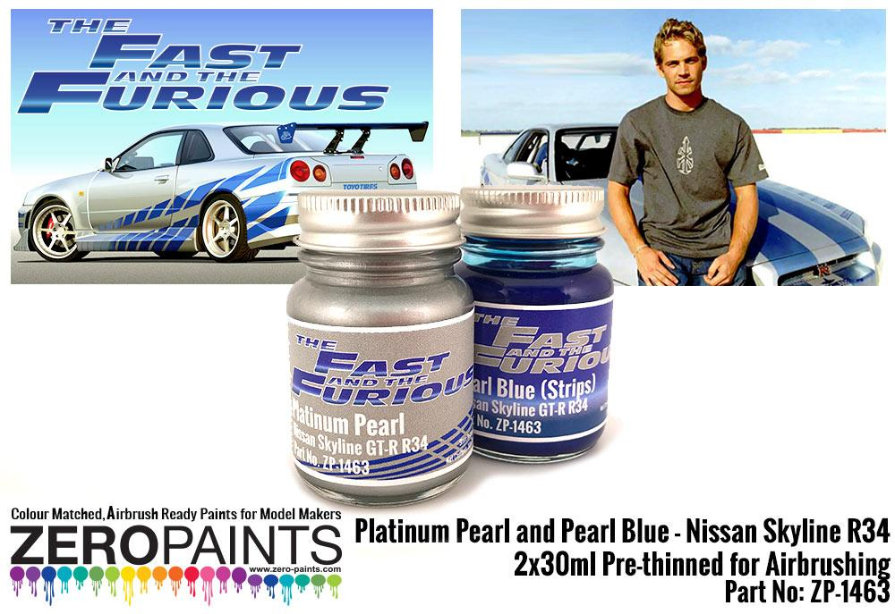 fast and furious platinum pearl pearl blue paints 2x30ml paul walker nissan skyline r34 zp 1463 zero paints fast and furious platinum pearl pearl blue paints 2x30ml paul walker nissan skyline r34