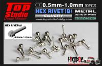 0.8mm Hex Rivets (B) Brass x10