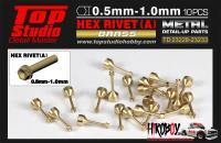 0.7mm Hex Rivets (A) Brass x10