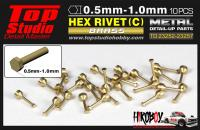 1.0mm Hex Rivets (c) Brass x10
