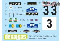 1:24 Ford Escort RS1600 Mk I Ford Motor Co Ltd - Acropolis rally 1969 Decals