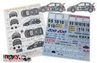 1:24 Peugeot 206 Works Team 2000 Rally Sweden/San Remo Decals (Tamiya)