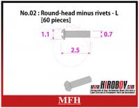 Metal Rivets Series No.02 - Round-head minus rivets  L [60 pieces] P1009