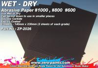 Wet and Dry Abrasive Paper #1000 #800 #600 - 6 Sheets