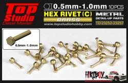 0.7mm Hex Rivets (c) Brass x10