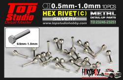 0.7mm Hex Rivets (c) Metal x10