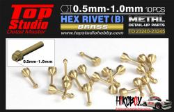 1.0mm Hex Rivets (B) Brass x10