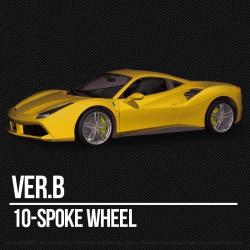 1:12 Ferrari 488 GTB (Curbside Kit) Ver.B : 10-Spoke Wheel Model