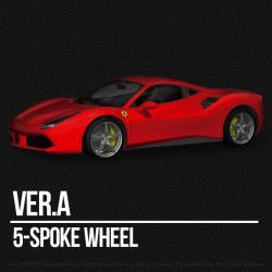 1:12 Ferrari 488 GTB (Curbside Kit) Ver.A : 5-Spoke Wheel Model