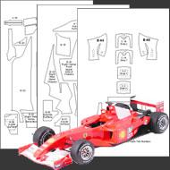 1:20 Ferrari F1-2000 Carbon Fiber Template Set #7119