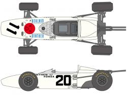 1:20 Honda RA272 1965 Mexico Winner Decals for Tamiya