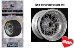 "1:24 15"" Borrani Wire Wheels and Tyres"