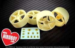 "1:24 19"" 5 Spoke Resin Wheel Set (Fujimi)"