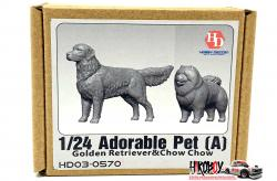 1:24 Adorable Pet (A) Golden Retriever and Chow Chow