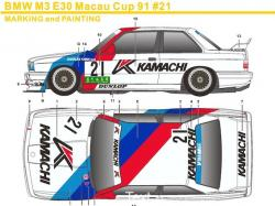 1:24 BMW M3 E30 Macau Cup 1991 #21 Decals