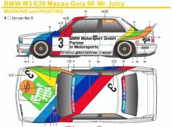 1:24 BMW M3 E30 Macau Cup 1990 #3 Mr Juicy Decals