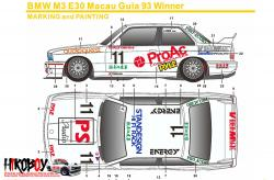 1:24 BMW M3 E30 Macau Guia 93 Winner Decals c/w Resin and PE (Beemax)