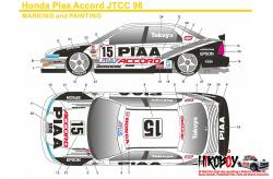 1:24 PIAA Honda Accord JTCC 1996 Decals (for Tamiya kit #24138)