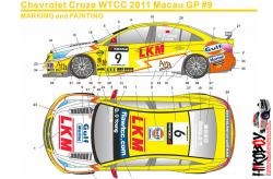 1:24 Chevrolet Cruze WTCC 11 Macau GP #9 LKM Decals for (Beemax)