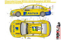 1:24 Chevrolet Cruze WTCC 12 Shanghai GP #32 Aviva Decals for (Beemax)