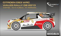 1:24 Citroen DS3 WRC R. Kubica - Wales Rally GB 2013 Decals