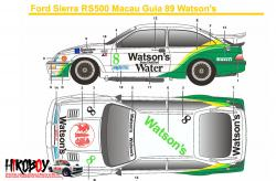 1:24 Ford Sierra RS500 Macau Guia 89 Watson's Decals (Tamiya) c/w Resin Dash