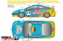 1:24 Honda Integra Type-R HTCC 2015 Team 778/Cup Noodles Decals (Fujimi)