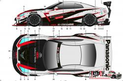 1:24 LB-WORKS Nissan GT-R R35 type 2 GT3 Style Decals for Aoshima